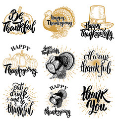 set of happy thanksgiving badges turkey pumpkin vector image