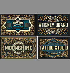 set vintage logos organized layers vector image