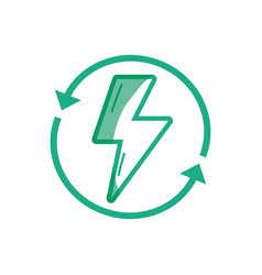 Silhouette energy hazard symbol with arrows around vector