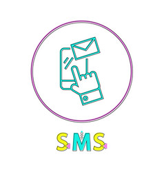 sms round linear icon with smartphone and envelope vector image