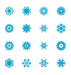 snowflake blue flat icon set vector image