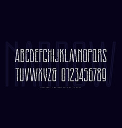 stock narrow sans serif font with inner contour vector image