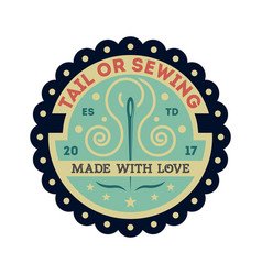tailor sewing vintage isolated label vector image