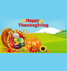thanksgiving greeting card with cornucopia of vector image