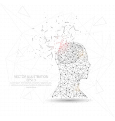 Thinker man head and brain digitally drawn low vector