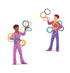 Top tent circus juggler artists vector