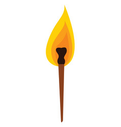 torch with fire hand drawn design on white vector image