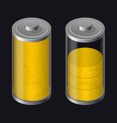Transparent glass battery high charging yellow vector