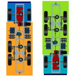 Truck suspension top view vector