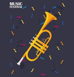 Trumpet music festival design vector