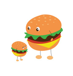 Two characters of hamburgers vector