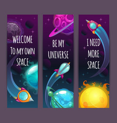 Vertical space banners with trendy quotes cartoon vector