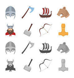 Viking in helmet with horns mace bow with arrow vector
