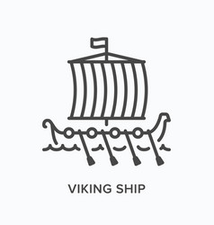 viking ship flat line icon outline vector image
