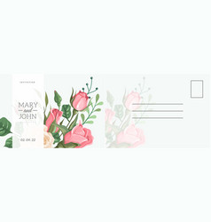 wedding postcard romantic card with elegant rose vector image
