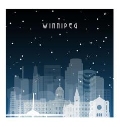 Winter night in winnipeg night city in flat style vector