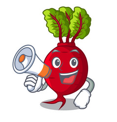 With megaphone cartoon fresh harvested beetroots vector