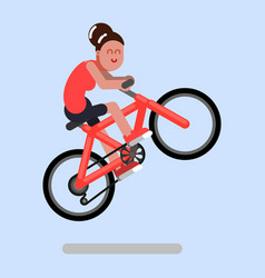 woman jumps on a bicycle vector image