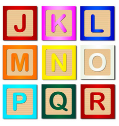 Wooden block letters j to r vector