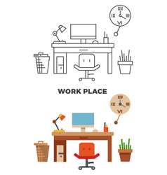 Work place concept - flat style and thin line vector