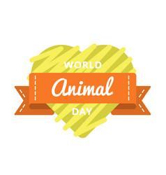 world animal day greeting emblem vector image
