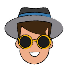 young man cartoon with sunglasses vector image
