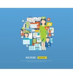 Concept for healthcare medical help and research vector image vector image