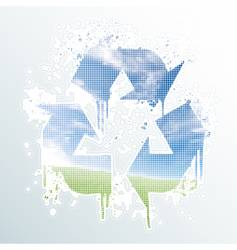 grunge recycle symbol vector image