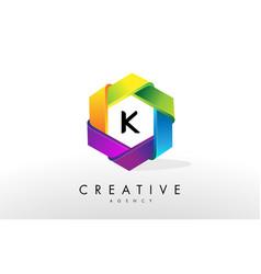 k letter logo corporate hexagon design vector image vector image