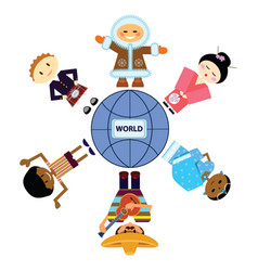 set of persons different nationality around planet vector image vector image