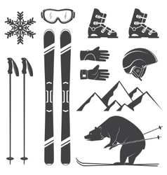 Set of skiing equipment silhouette icons vector image