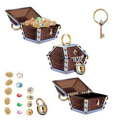 treasure chest set vector image vector image