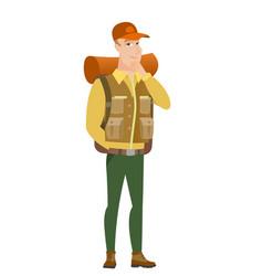 caucasian traveler thinking vector image