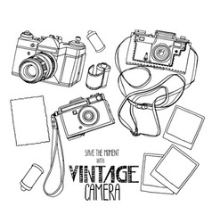 Collection of vintage hand drawn cameras vector