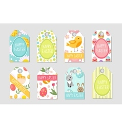Cute Easter tags set Labels collection with vector image