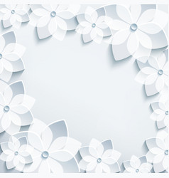 Floral frame with grey 3d flowers sakura vector image