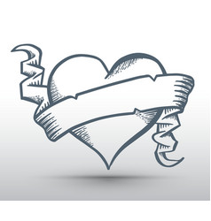 heart with ribbon drawing banner vector image vector image