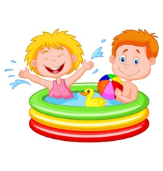 Kids cartoon Playing in an Inflatable Pool vector image vector image