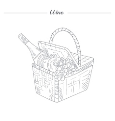 Picnic Basket With Wine Hand Drawn Realistic vector image vector image