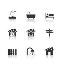 Real Estate Icons Set with reflection vector image