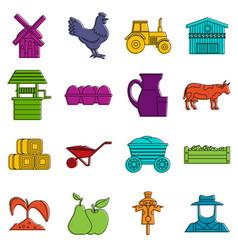 farm icons doodle set vector image