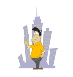 Fun cartoon guy holding his finger up vector image vector image