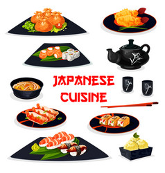 japanese cuisine icon of traditional asian food vector image