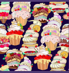 pattern of fantastic pastries vector image vector image