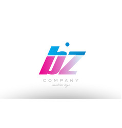 bz b z alphabet letter combination pink blue bold vector image vector image