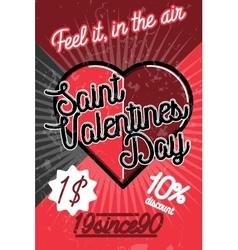 Color vintage valentines day poster vector