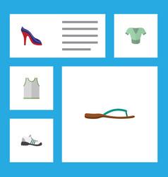 Flat icon dress set of singlet heeled shoe vector