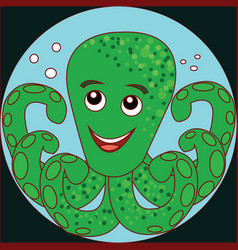 funny cartoon crab octopus on the blue background vector image vector image