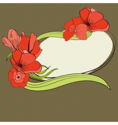 greeting card with red flowers vector image