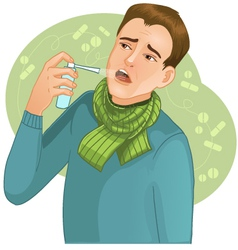 Ill man with spray vector image vector image